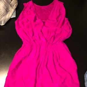 Hot pink silky dress size XS